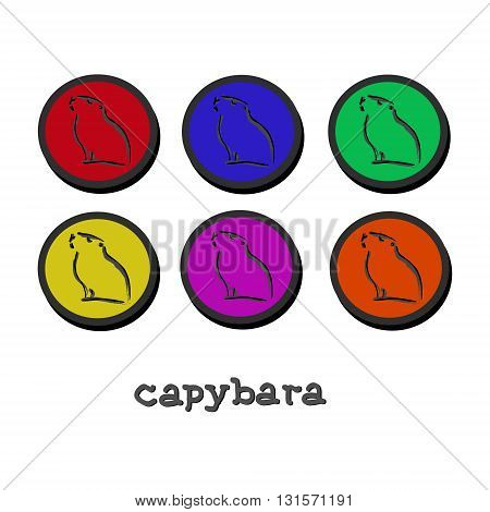 The symbol of a large rodent. In the center of the circle a picture of an animal character set. Vector illustration