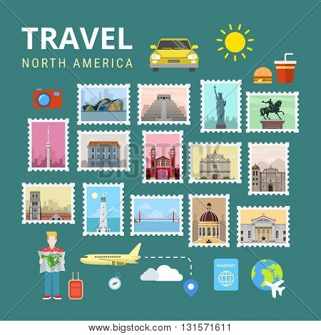 Travel North America USA Canada flat vector travel tourism