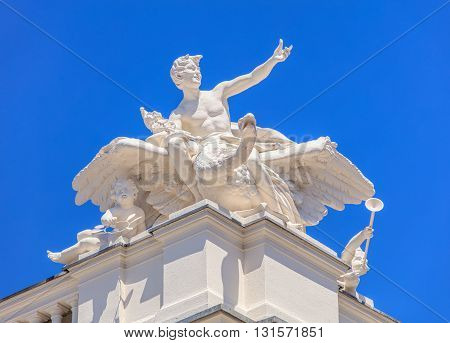 Zurich, Switzerland - 26 May, 2016: sculpture on the top of the Zurich Opera House. Zurich Opera House (German: Opernhaus Zurich) is an opera house in the Swiss city of Zurich it has been the home of the Zurich Opera since 1891.