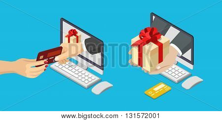 Online sale payment delivery e-commerce flat isometric vector 3d