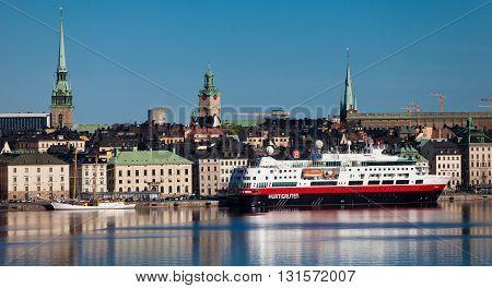 SWEDEN, STOCKHOLM - MAY 13, 2012: Fram ship at pier in Stokholm