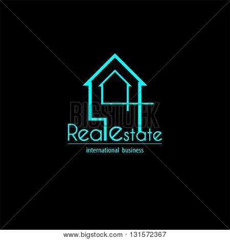 Blue logo real estate house map for business
