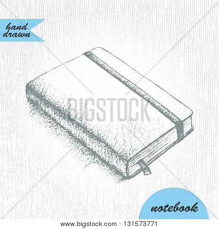 Hand drawn sketch of notebook with bookmark and elastic band in graphite pencil.