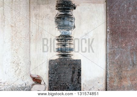 Column detail in Belur temple, Karnataka, India