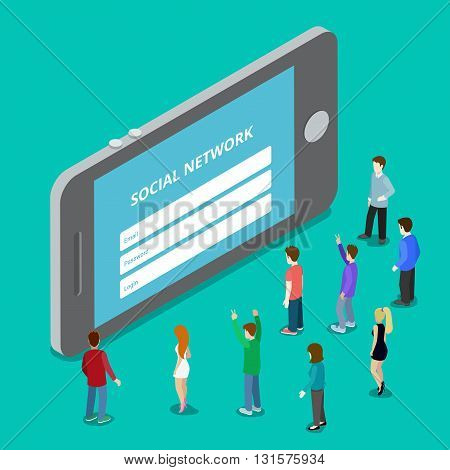 Social media mobile application network login. Social network authorization plugin. Flat 3d isometry isometric style web site app icon set concept vector illustration. Creative people collection.