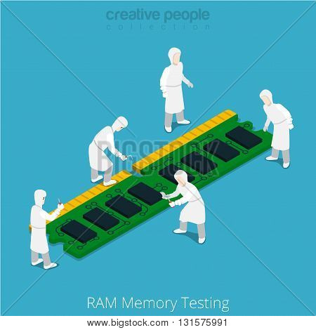 RAM memory testing repair service. Serviceman working on memory chip module. Flat 3d isometry isometric style web site app icon set concept vector illustration. Creative people collection.