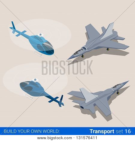 Air transport set. Helicopter and air force combat fighter plane. Flat 3d isometry isometric style web site app icon set concept vector illustration. Creative people collection.
