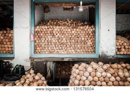 Coconut heap on a market in Mysore, Karnataka, India