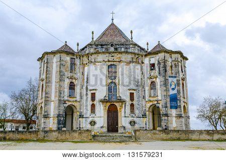 Obidos Portugal - March 20 2016: Obidos Portugal. Church of the Senhor do Jesus da Pedra Sanctuary. 18th century Baroque architecture.