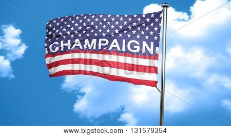 champaign, 3D rendering, city flag with stars and stripes