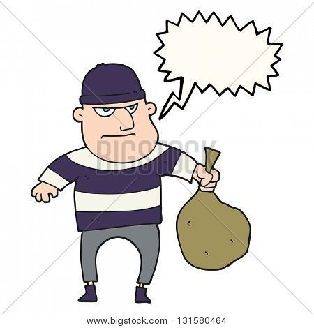 freehand drawn speech bubble cartoon burglar with loot bag