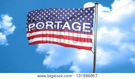 portage, 3D rendering, city flag with stars and stripes