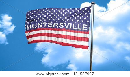 huntersville, 3D rendering, city flag with stars and stripes