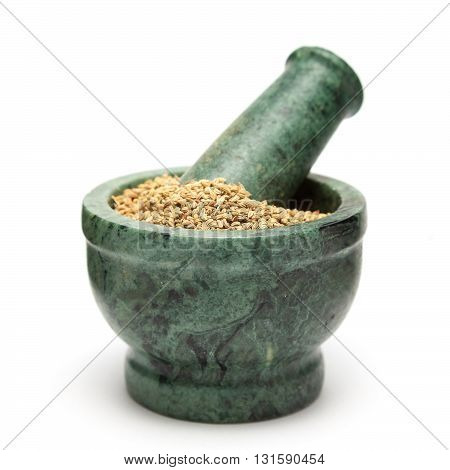 Organic Carom or Ajwain (Trachyspermum ammi) on marble pestle Isolated on white background.