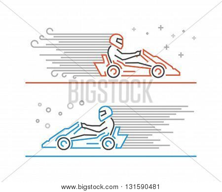 Multicolored line go kart logo. Modern outline karting symbol. Vector line kart. Cool karting icons.