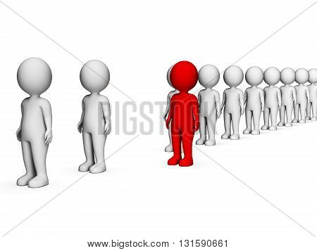 Different Characters Indicates Stand Out And Discrimination 3D Rendering