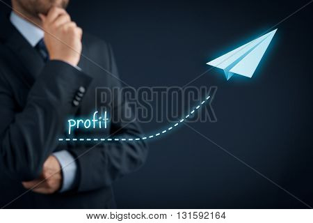Increase profit concept. Businessman plan profit acceleration and growth represented by graph and paper plane.