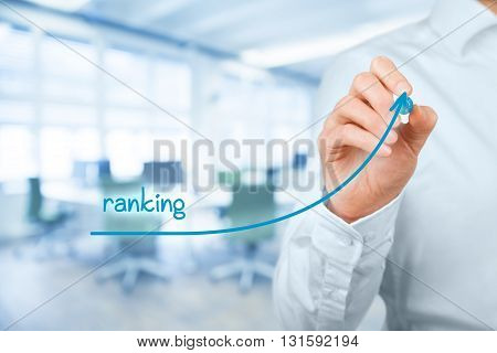 Increase ranking concept. Businessman draw plan to increase ranking of his company or website office in background.
