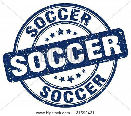 soccer blue grunge round vintage rubber stamp.soccer stamp.soccer round stamp.soccer grunge stamp.soccer.soccer vintage stamp.