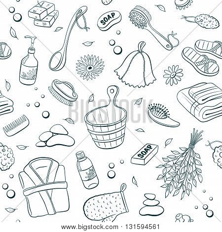 Sauna seamless pattern from sauna accessories sketches. Hand drawn spa items background. Doodle sauna objects isolated on white background.