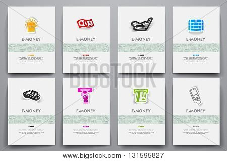 Corporate identity vector templates set with doodles e-money theme. Target marketing concept