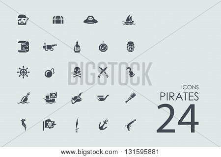 pirates vector set of modern simple icons