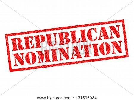 REPUBLICAN NOMINATION red Rubber Stamp over a white background.
