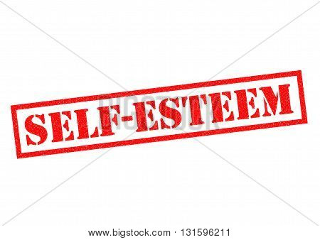 SELF ESTEEM red Rubber Stamp over a white background.