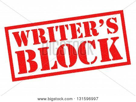 WRITER'S BLOCK red Rubber Stamp over a white background.