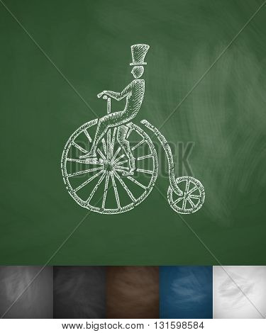 penny farthing icon. Hand drawn vector illustration. Chalkboard Design