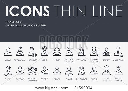 Thin Stroke Line Icons of Professions on White Background