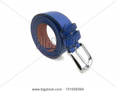 close up blue waistband on isolated white background