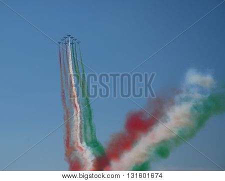 IZMIR/TURKEY-JUNE 5, 2011 : Italian Air Force's Frecce Tricolori Display Team at the 2nd Main Jet Base-Cigli for Airshow. June 5, 2011-Izmir/Turkey