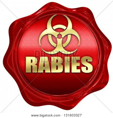 Rabies virus concept background, 3D rendering, a red wax seal