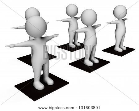 Aerobics Characters Represents Getting Fit And Exercises 3D Rendering