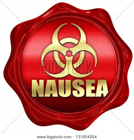 Nausea concept background, 3D rendering, a red wax seal