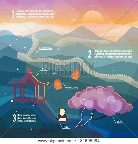 China infographics.China Eastern landscape. Mountains nature with traditional Chinese elements. Low polygon style flat illustrations. For web and mobile phone print.