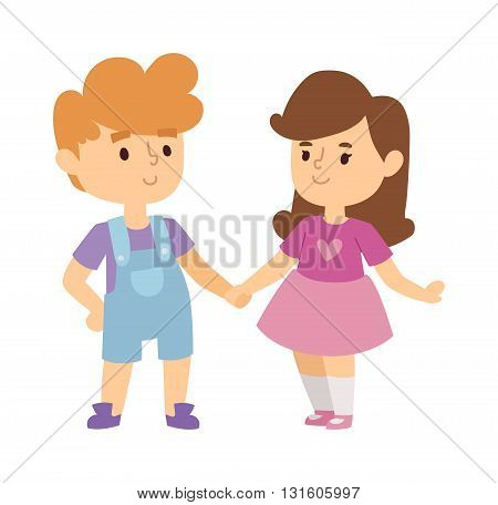 Kids holding hands doing jump and kids holding hands vector character. Kids holding hands cute little boy and girl. Kids holding hands love, friendship happy girl happiness lifestyle children.