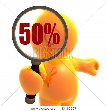 Search for 50 percent sale and discount offer