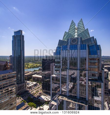 Austin, Texas/USA - 03/27/2016 Skyline of Austin, Texas, with the Frost Bank Tower. Aerial shot of the Frost Bank Tower and other office buildings in downtown Austin.