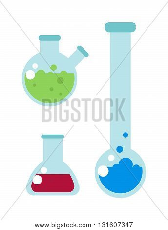 Set of laboratory equipment lab flask and lab flask vector illustration. Lab flask chemistry experiment and analysis equipment lab flask. Biology glassware drug pharmaceutical lab flask.