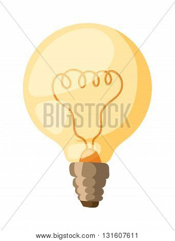 Glowing yellow light bulb, turn on tungsten light bulb isolated. Light bulb vector and electricity power inspiration light bulb. Bright isolated technology invention light bulb, glass light bulb.