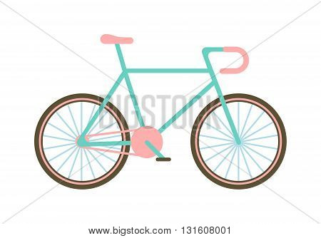 Flat bike basket flowers and girl bike vector cartoon travel cycle. Classic bike happy sport leisure and girl bike urban ride fashion healthy transport. Old road biking, leisure style street bike.