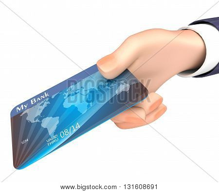 Debit Card Indicates Business Person And Bank 3D Rendering