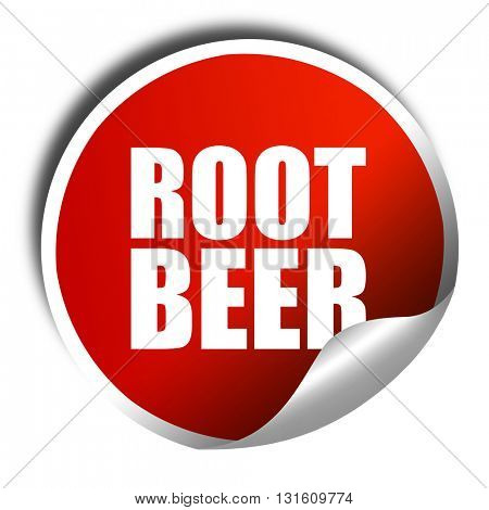 root beer, 3D rendering, a red shiny sticker