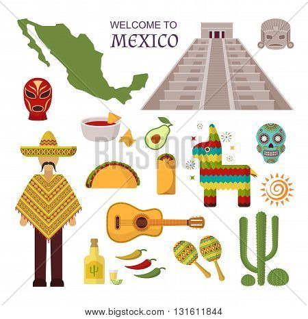 Vector welcome to mexico america guitar set, cactus design icons. Welcome to mexico party fiesta sombrero set. Mexico traditional latin symbols and ethnicity mexico symbols. Spanish tequila sticker