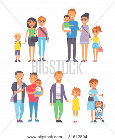 Large group of people and family people vector character set. Big happy smile family people and togetherness family people laughing parents with kids. Cheerful lifestyle cute family people with kids.
