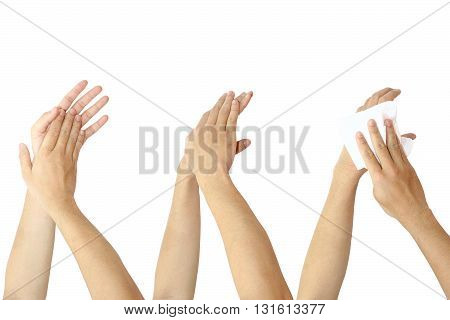 washing hands isolated on white color background