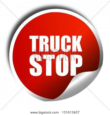 truck stop, 3D rendering, a red shiny sticker