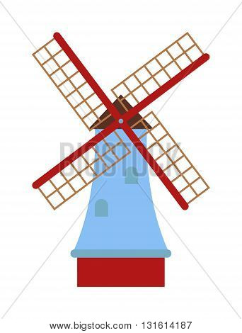 Ancient mill symbols vector illustration. Vector mill farm sign element and vintage grain bakery wind vector mill. Old agriculture rural vector mill and energy flat traditional power food vector mill.